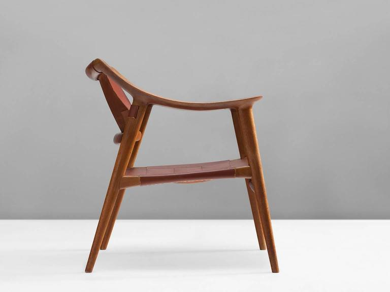Norwegian Rastad & Relling 'Bambi' Armchair in Teak and Cognac Leather For Sale