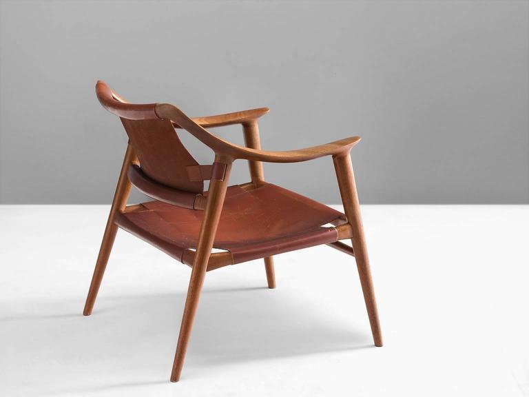Scandinavian Modern Rastad & Relling 'Bambi' Armchair in Teak and Cognac Leather For Sale