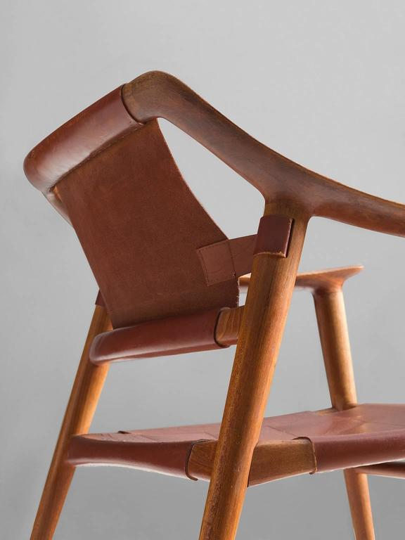 Rastad & Relling 'Bambi' Armchair in Teak and Cognac Leather In Good Condition For Sale In Waalwijk, NL