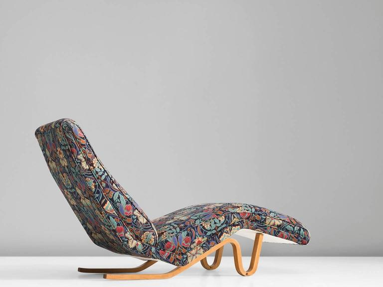 Chaise Longue, In Beech And Fabric, By Andre J. Milne, United Kingdom