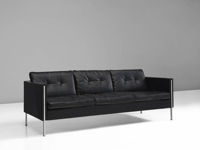 Sofa Model 442 3 In Black Faux Leather And Steel By Pierre