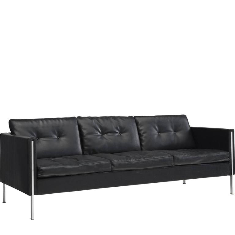 Pierre Paulin 442 Sofa in Black Faux Leather for Artifort