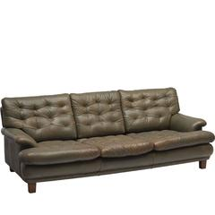 Arne Norell Three-Seat Sofa in Patinated Olive Green Leather