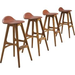 Erik Buch Sienna Red Leather and Teak Barstools