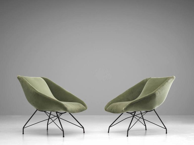 Mid-Century Modern Carlo Hauner Pair of Lounge Chairs, 1960s For Sale