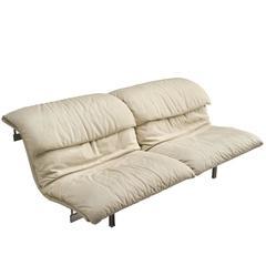 Giovanni Offredi 'Wave' Sofa in White Leather
