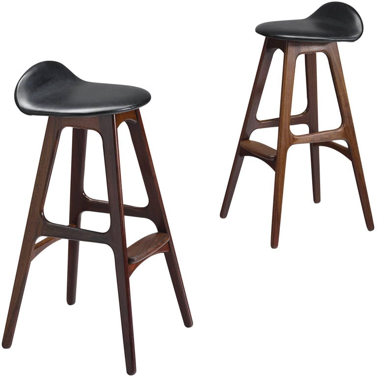 Erik Buch Set Of Rosewood Barstools For Sale At 1stdibs