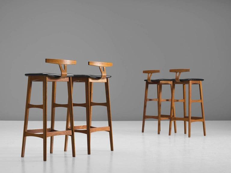Scandinavian Modern Knud Bent Teak and Black Leather Barstools for Dyrlund For Sale