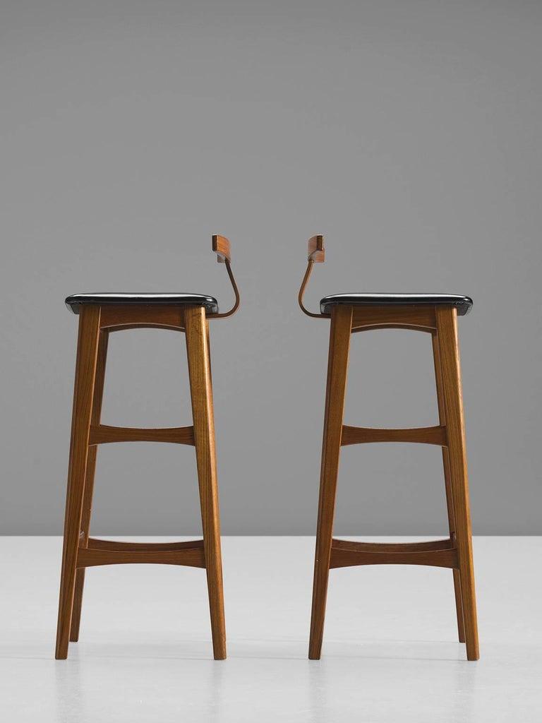 Danish Knud Bent Teak and Black Leather Barstools for Dyrlund For Sale