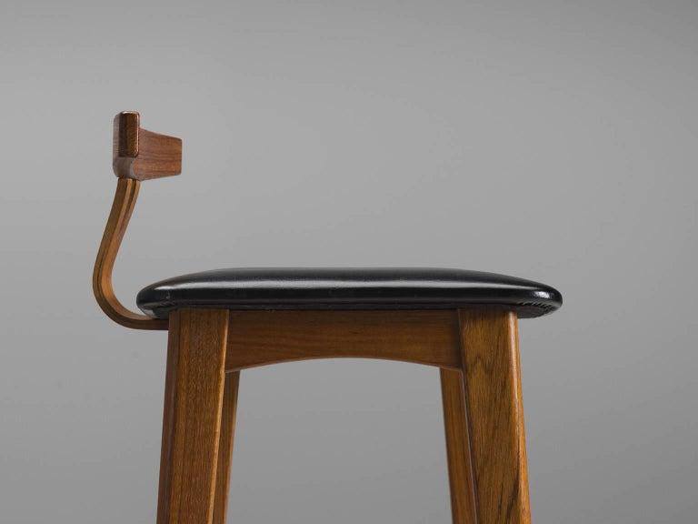 Knud Bent Teak and Black Leather Barstools for Dyrlund 5