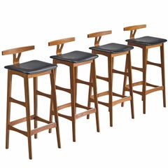 Knud Bent Teak and Black Leather Barstools for Dyrlund