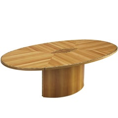 Sculptural Oval Dining Table with Burl Centre