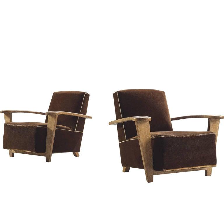 De Coene Pair of Art Deco Oak Lounge Chairs
