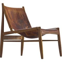 Hunting Chair by Franz Xaver Lutz in Original Cognac Leather