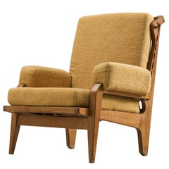 French Art Deco Curved Oak Lounge Chair, 1950s