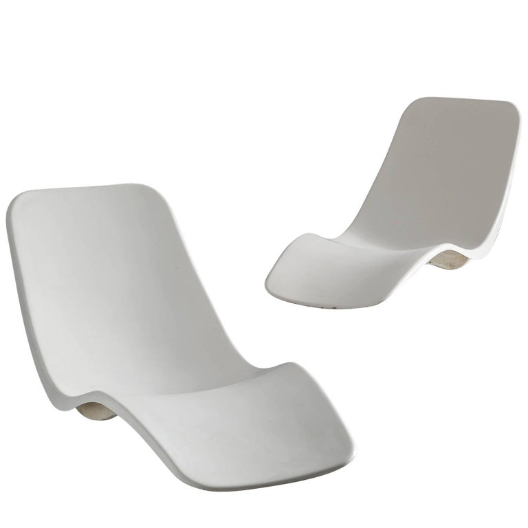 Set of french charles zublena poolside chaise longues for for Chaises longues plastique