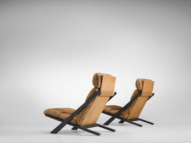 Remarkable Pair Of Cognac Leather Ueli Berger Lounge Chairs For De Sede Home Interior And Landscaping Synyenasavecom