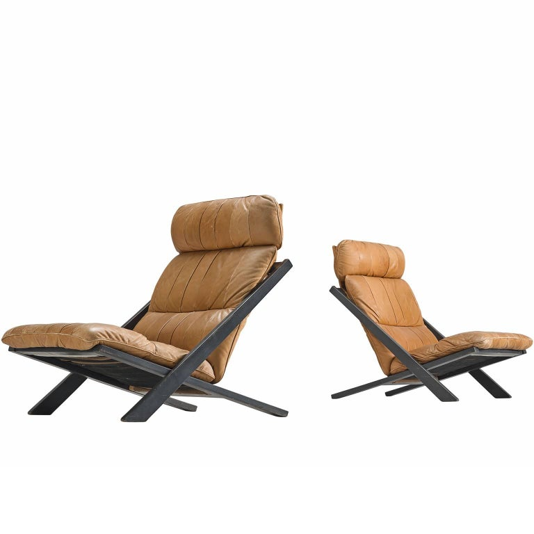 Pair of Cognac Leather Ueli Berger Lounge Chairs for De Sede