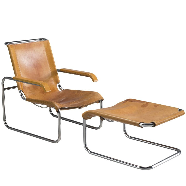 marcel breuer leather lounge chair with ottoman by thonet for sale at 1stdibs. Black Bedroom Furniture Sets. Home Design Ideas