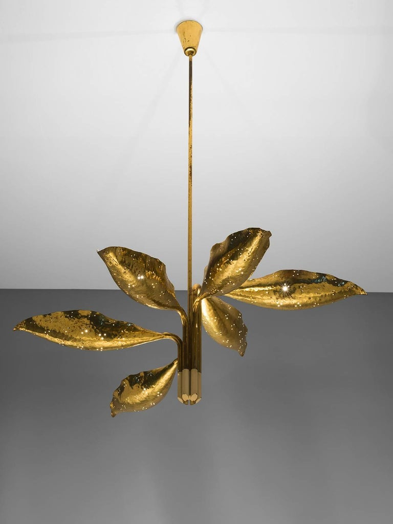Angelo Lelii Chandelier in Brass for Arredoluce 3