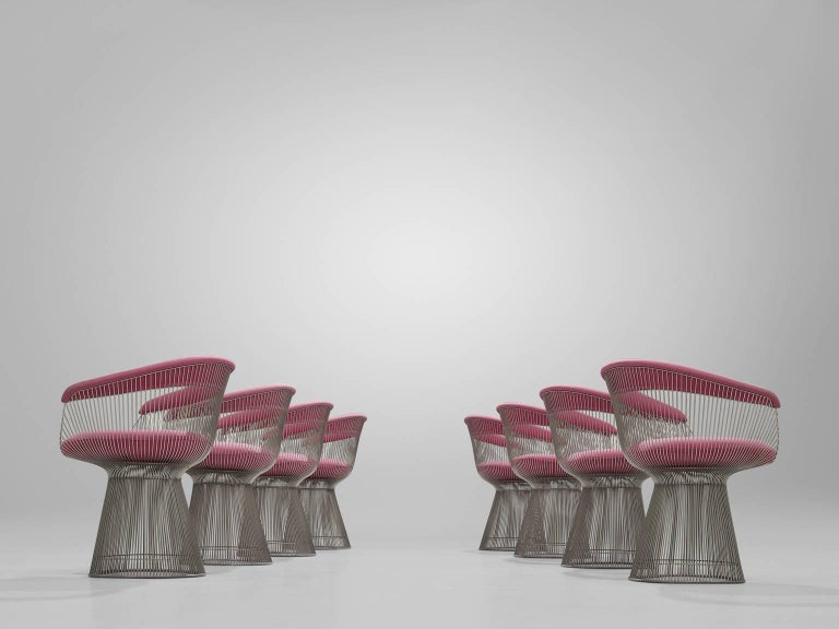 Warren Platner Set of Eight Pink Lounge Chairs 4