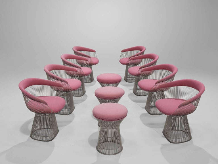 Warren Platner Set of Eight Pink Lounge Chairs 2