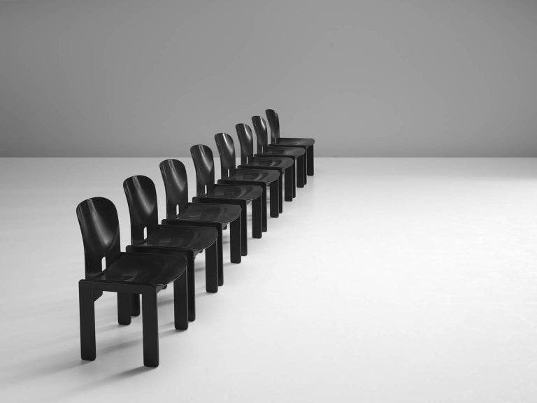 Afra and Tobia Scarpa Chairs in Black for Cassina 3