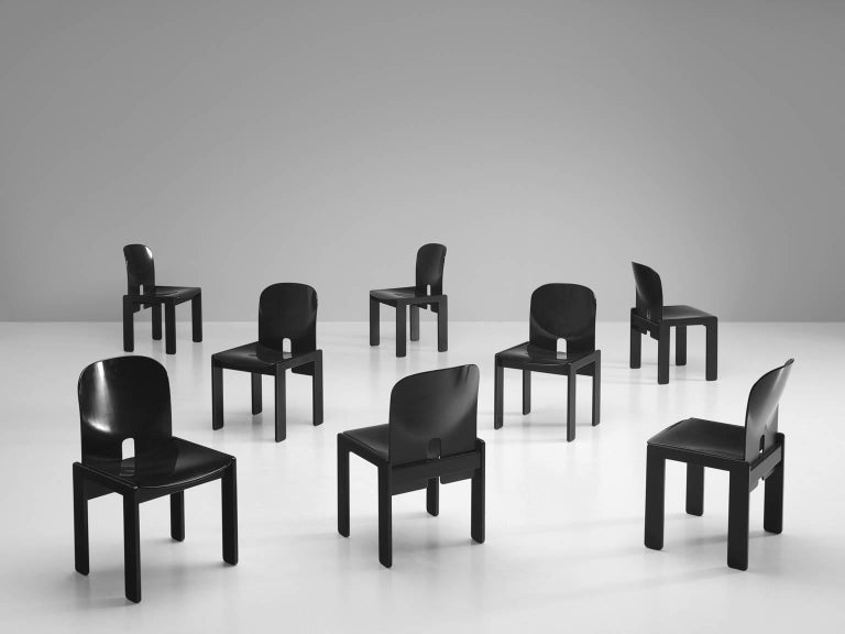 Afra and Tobia Scarpa Chairs in Black for Cassina 2