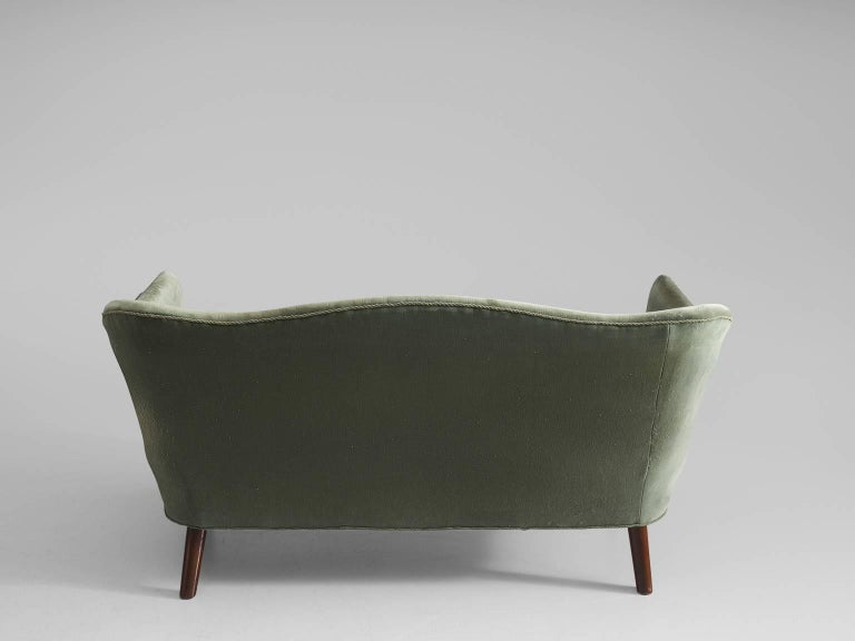 Swedish Settee in Green Velvet, 1950s For Sale at 1stdibs