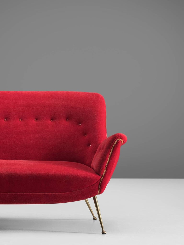 Venetian Red Fabric Italian Sofa 1950s For Sale At 1stdibs
