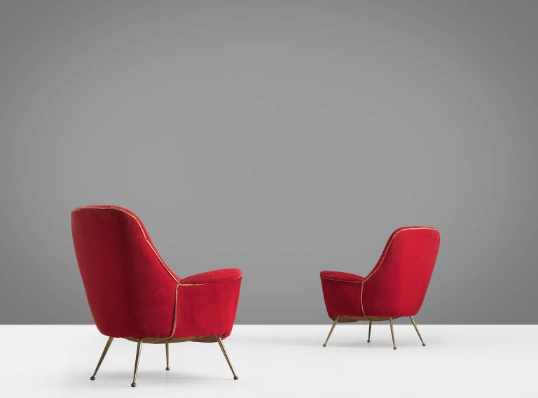 Pair Of Two Venetian Red Armchairs In Original Fabric Italy 1950s