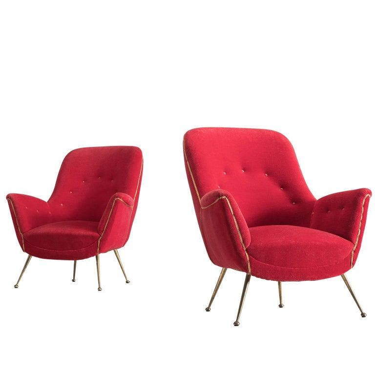 Pair of Two Venetian Red Armchairs in Original Fabric, Italy, 1950s