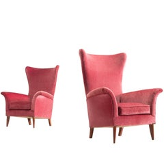Set of Two High Wingback Chairs, Velvet and Wood, Italy, 1950s