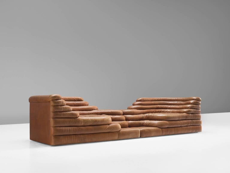 Post-Modern Set of Two De Sede DS1025 'Terrazza' Landscapes in Cognac Leather