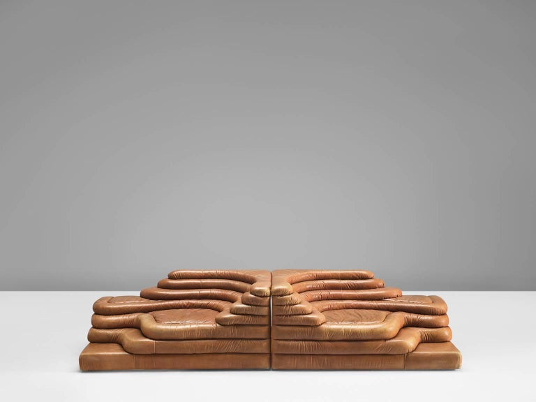Swiss Set of Two De Sede DS1025 'Terrazza' Landscapes in Cognac Leather