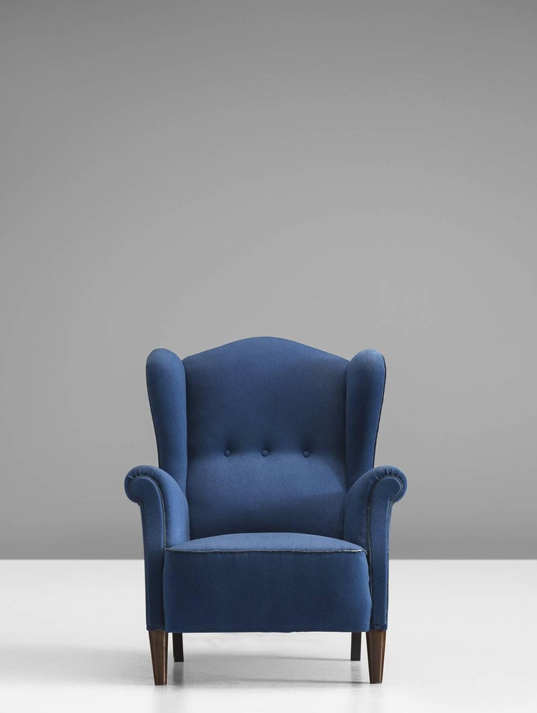 Danish Easy Chair In Blue Original Upholstery For Sale At