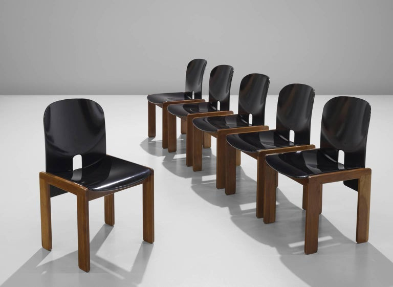 Afra and Tobia Scarpa Chairs in Black and Walnut for Cassina 2