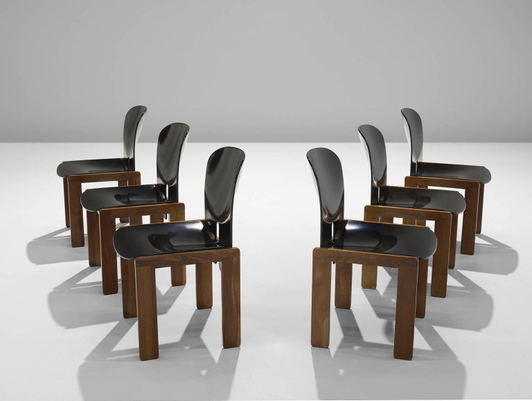 Afra and Tobia Scarpa Chairs in Black and Walnut for Cassina 3