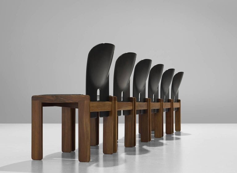 Afra and Tobia Scarpa Chairs in Black and Walnut for Cassina 4
