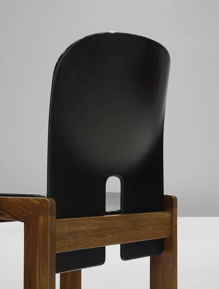 Afra and Tobia Scarpa Chairs in Black and Walnut for Cassina 5