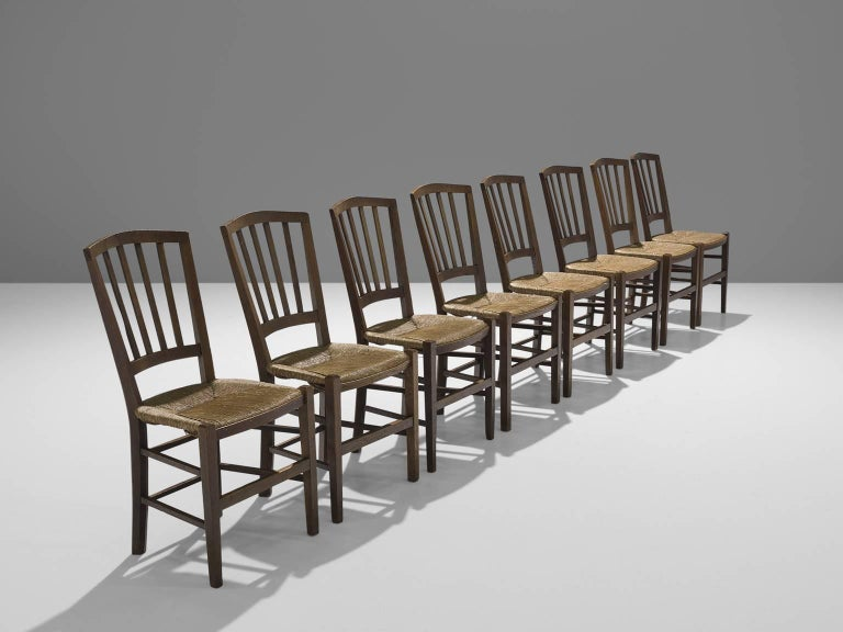 Mid-Century Modern Large Set of Oak Dining Chairs, 1960s