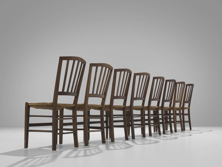 Dutch Large Set of Oak Dining Chairs, 1960s