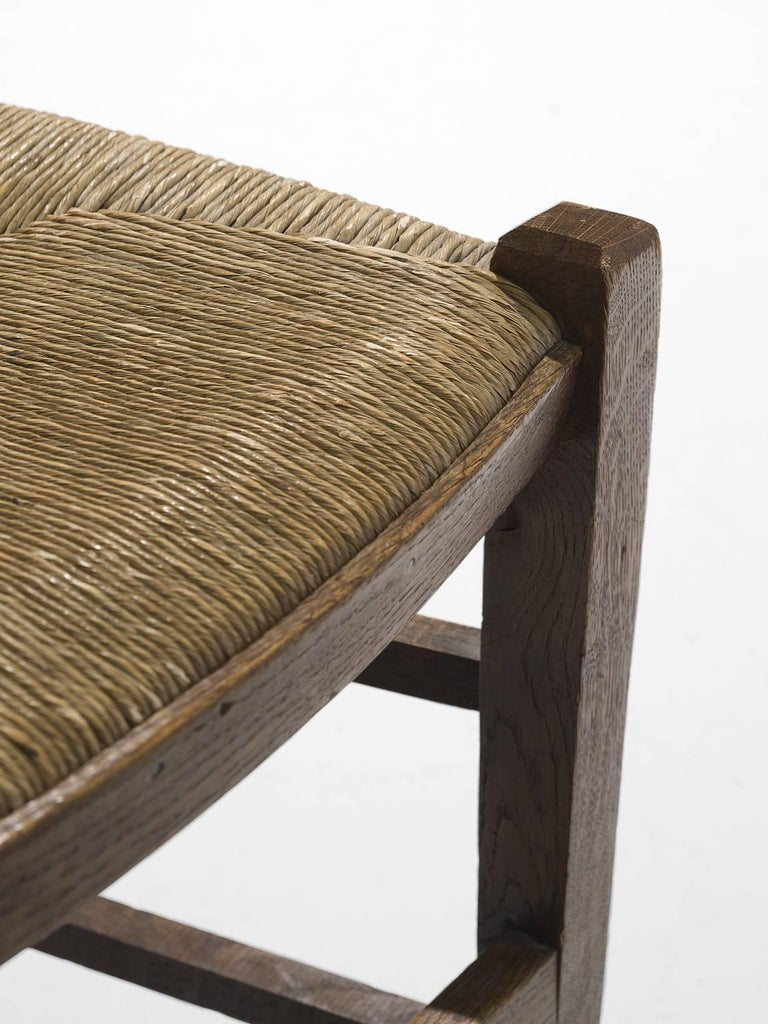 Rope Large Set of Oak Dining Chairs, 1960s