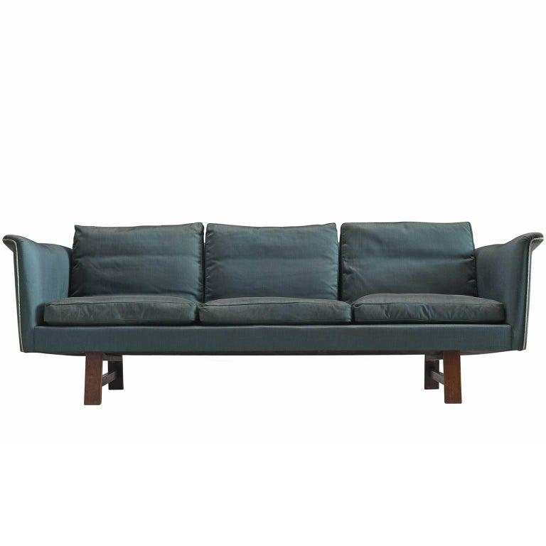 Danish Turquoise Three-Seat Sofa, 1950s