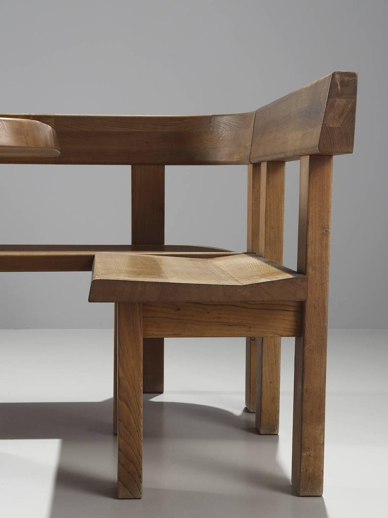 Pierre Chapo Dining Set In Solid Elm For Sale At 1stdibs