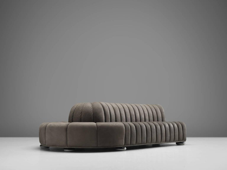 Post-Modern Custom-Made Luxurious Wittmann Sofa in Anthracite Leather For Sale