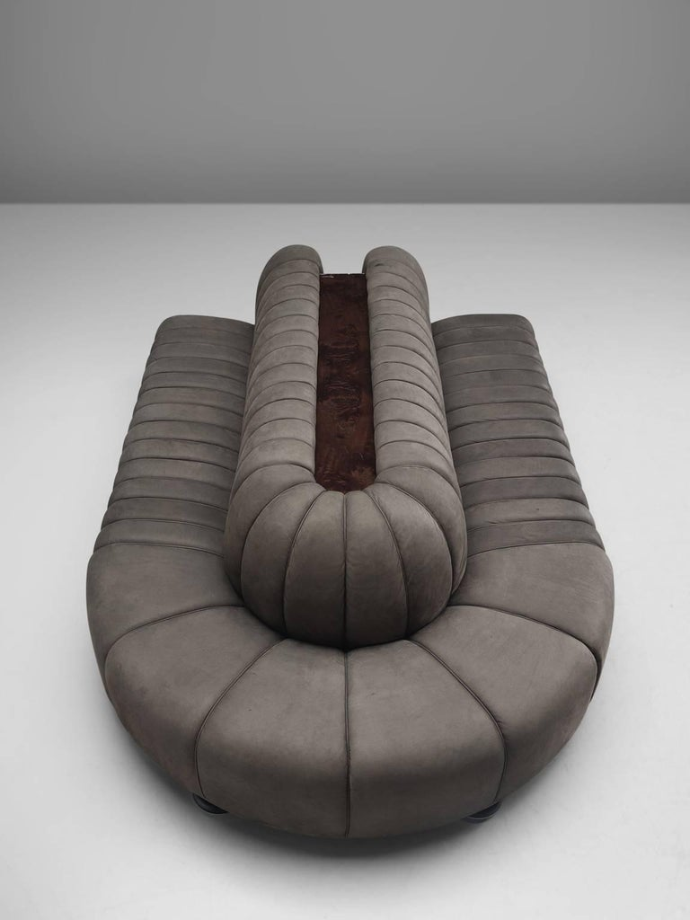 Late 20th Century Custom-Made Luxurious Wittmann Sofa in Anthracite Leather For Sale