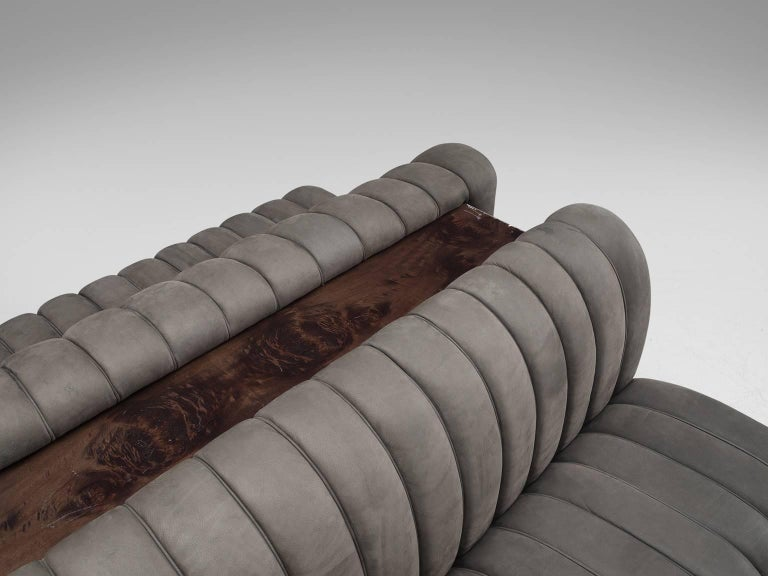 Custom-Made Luxurious Wittmann Sofa in Anthracite Leather For Sale 4