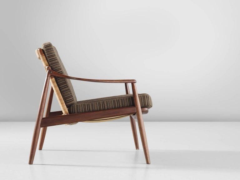 German Hartmut Lohmeyer Armchair in Teak and Cane For Sale
