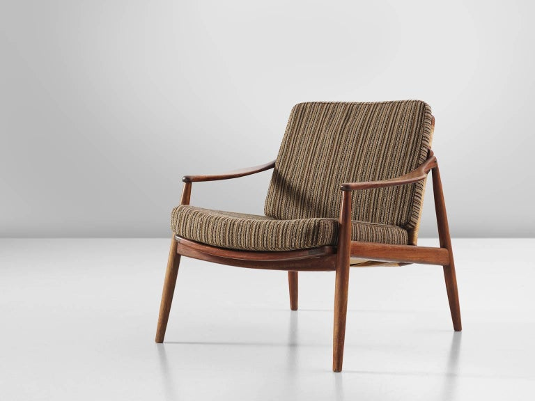 Mid-Century Modern Hartmut Lohmeyer Armchair in Teak and Cane For Sale